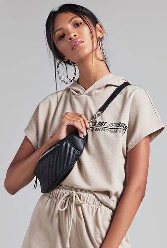 Printed Crop T-shirt with Hood and Drop Shoulder Cap Sleeves