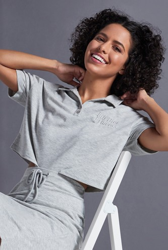 Text Embroidered Polo Crop T-shirt with Drop Shoulder Sleeves