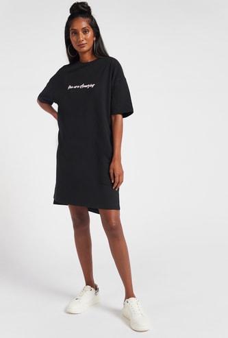 Donald Duck Print Longline T-shirt Dress with Short Sleeves