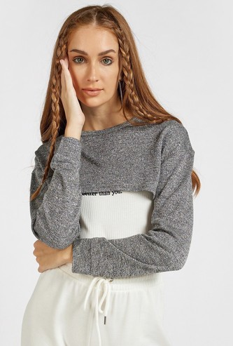 Solid Ultra Crop Top with Round Neck and Long Sleeves