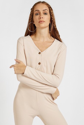 Ribbed Crop Cardigan with V-neck and Long Sleeves