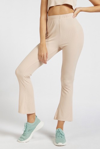 Ribbed Ankle Length Pants with Elasticised Waistband