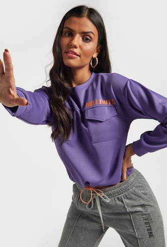 Printed Sweat Top with Pockets and Long Sleeves