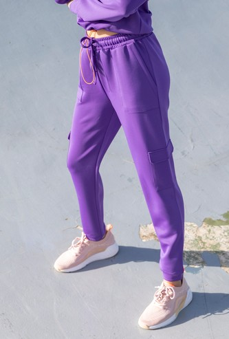 Solid Cargo Joggers with Pockets and Elasticated Drawstring Waist