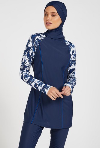 Leaf Print Burkini with Long Sleeves and Head Cover