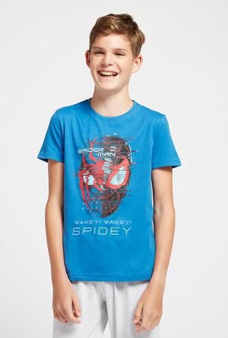Spider-Man Graphic Print Short Sleeves T-shirt and Solid Pyjama Set