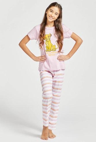 The Lion King Graphic Print Short Sleeves T-shirt and Pyjama Set