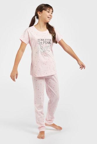 The Pink Panther Print T-shirt and Pyjama Set