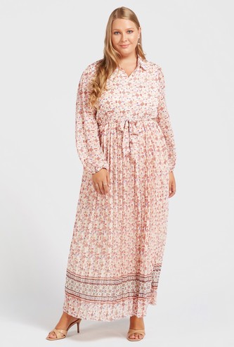 All-Over Print A-line Maxi Dress with Bishop Sleeves and Pleat Detail