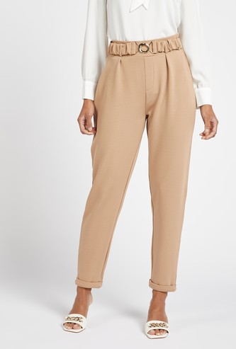 Ankle Length Solid Tapered Pants with Elasticated Waist