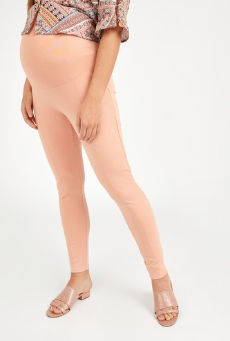 Skinny Fit Solid High-Rise Ponte Leggings with Elasticised Waistband