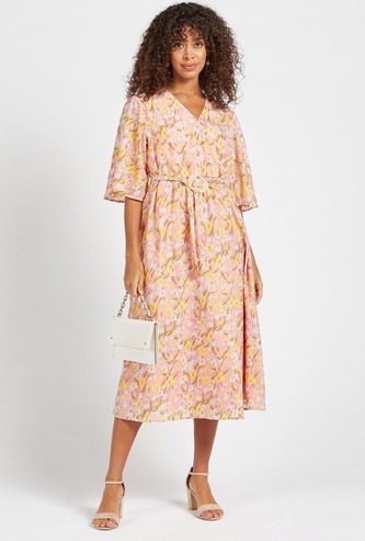 Floral Print Wrap A-line Midi Dress with Short Bell Sleeves