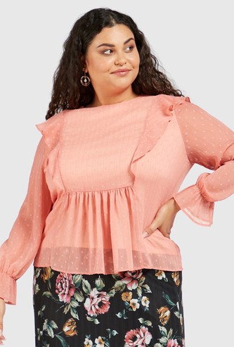 Textured Top with Frill Detail and Long Sleeves