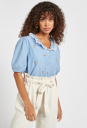 Floral Embroidered Peter Pan Top with Short Sleeves