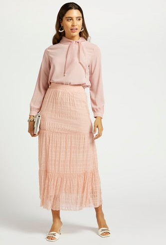 Textured Tiered Maxi Skirt with Mesh Detail