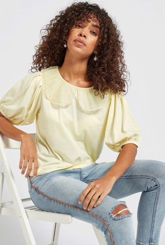 Solid Top with Peter Pan Collar and Short Sleeves