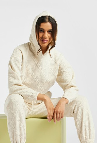 Textured Hooded Sweatshirt with Cuffed Long Sleeves