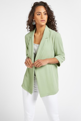 Solid Jacket with 3/4 Sleeves and Notched Lapel