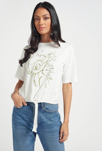 Bambi Print T-shirt with Front Knot Detail and Short Sleeves