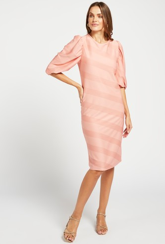Textured Shift Dress with Round Neck and Puff Sleeves