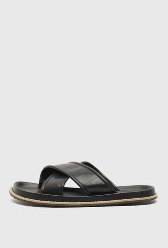 Solid Slip-On Cross Strap Sandals