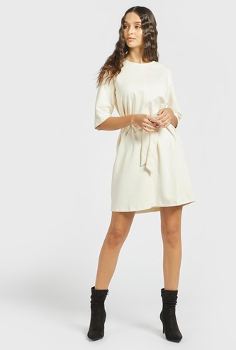 Solid Mini A-Line Dress with 3/4 Sleeves and Tie-Ups
