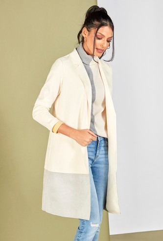 Colour Block Overcoat with Collar and Long Sleeves