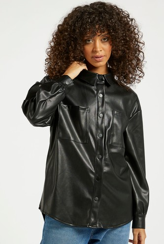 Solid Biker Jacket with Long Sleeves and Pockets