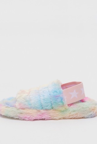 Ombre Plush Bedroom Slippers with Elasticised Strap