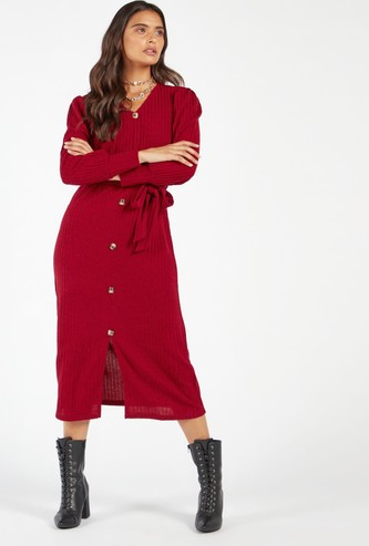 Ribbed Midi A-line Dress with Bishop Sleeves and Belt