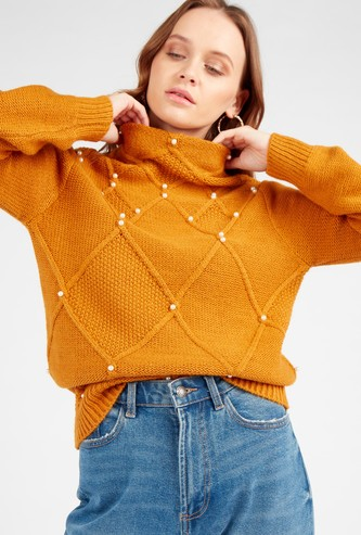 Bead Embellished Sweater with High Neck and Long Sleeves