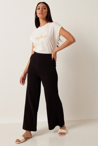 Solid Palazzos with Pockets and Elasticised Waistband