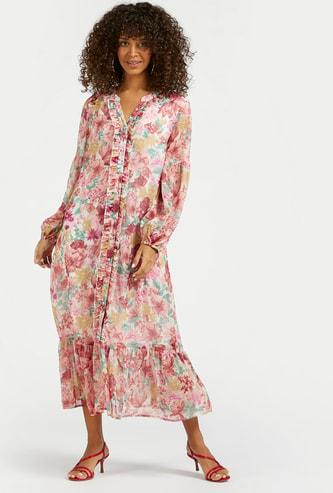 فستان ميدي إيه لاين متعدّد الطبقات بطبعات أزهار وتفاصيل كشكش