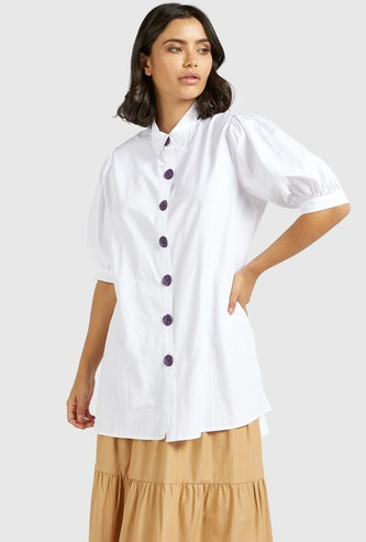 Solid Poplin Tunic Shirt with Spread Collar and Puff Sleeves