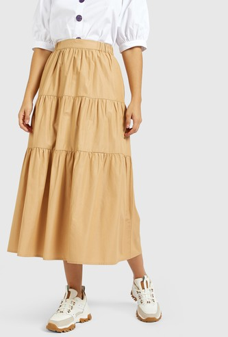 Solid Midi Tiered Skirt with Elasticised Waistband