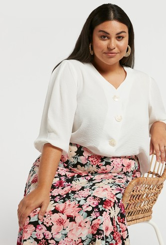 Textured V-neck Button Up Top with 3/4 Sleeves