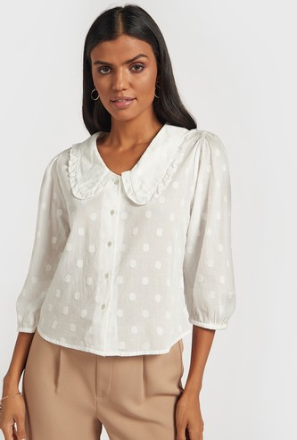 Textured Shirt with Micro Frill Detail and 3/4 Sleeves