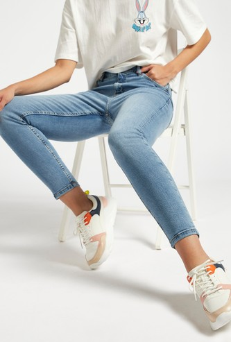 Skinny Fit Solid High-Rise Cropped Jeans with Belt Loops