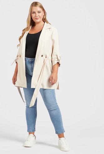بنطلون جينز قصير سكيني سادة بخصر مرتفع وعراوي حزام