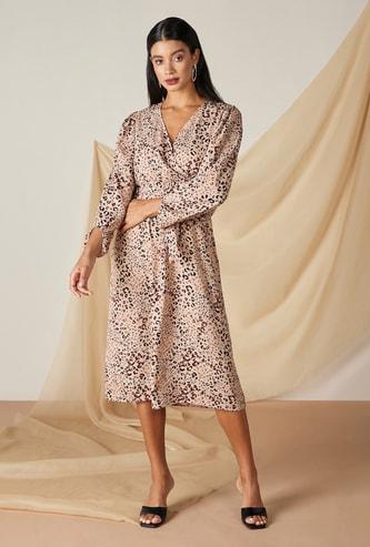 فستان ميدي إيه لاين بطبعات وأكمام طويلة