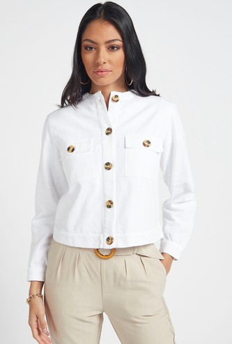 Textured Jacket with Long Sleeves and Flap Pockets