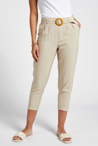 Textured 3/4 Cropped Pants with Pocket Detail and Belt