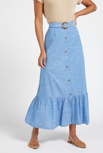 Textured Maxi Tiered Skirt with Elasticised Waistband