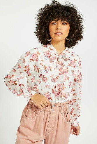 All-Over Floral Print Top with Bishop Sleeves and Bow Tie