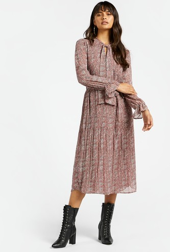 All-Over Print Pleated Midi A-line Dress with Necktie and Long Sleeves