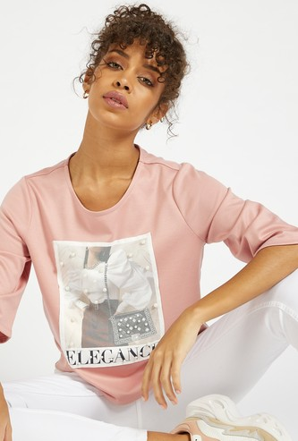 Pearl Detail Graphic Print Boxy T-shirt with 3/4 Sleeves
