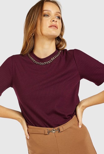 Ribbed Round Neck Top with Neck Chain Accent and Short Sleeves