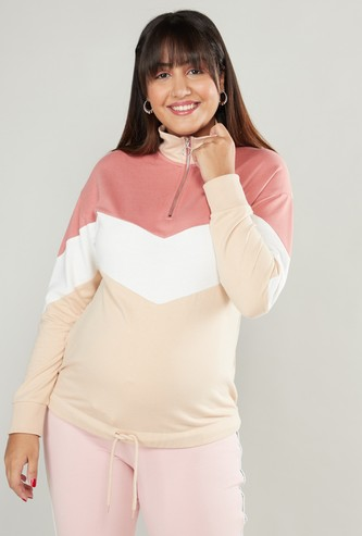 Colour Block Maternity Sweatshirt with Long Sleeves and Zip Detail