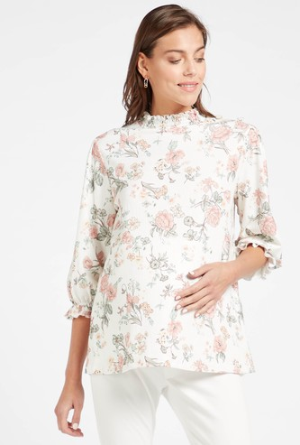 All-Over Floral Print Maternity Top with High Neck and 3/4 Sleeves