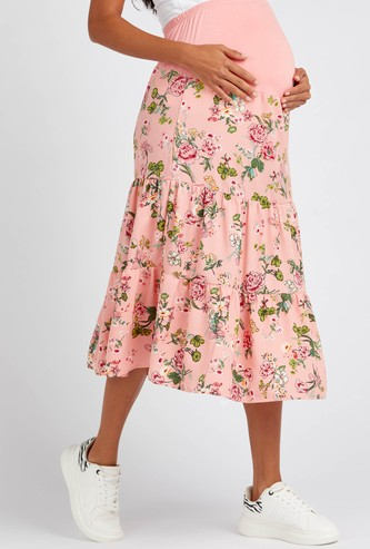 Floral Print Midi Maternity Tiered Skirt with Elasticated Waistband